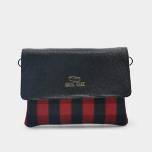 pochette brique tartan rouge