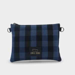pochette zippée tartan bleu