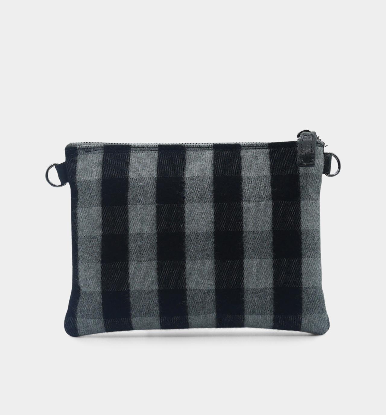 pochette zippée tartan gris- dos
