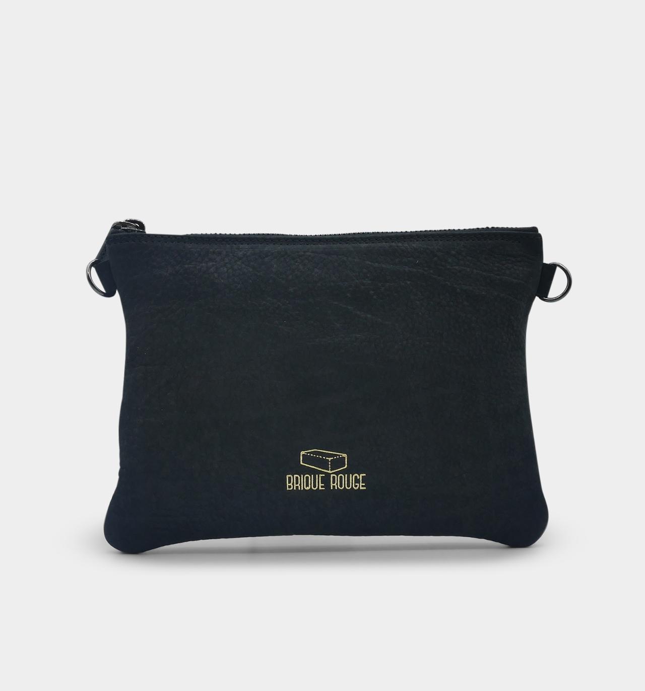 pochette zippée nubuck noir