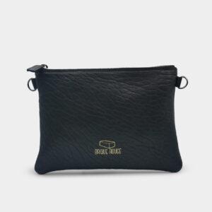 pochette zippée cuir agneau noir