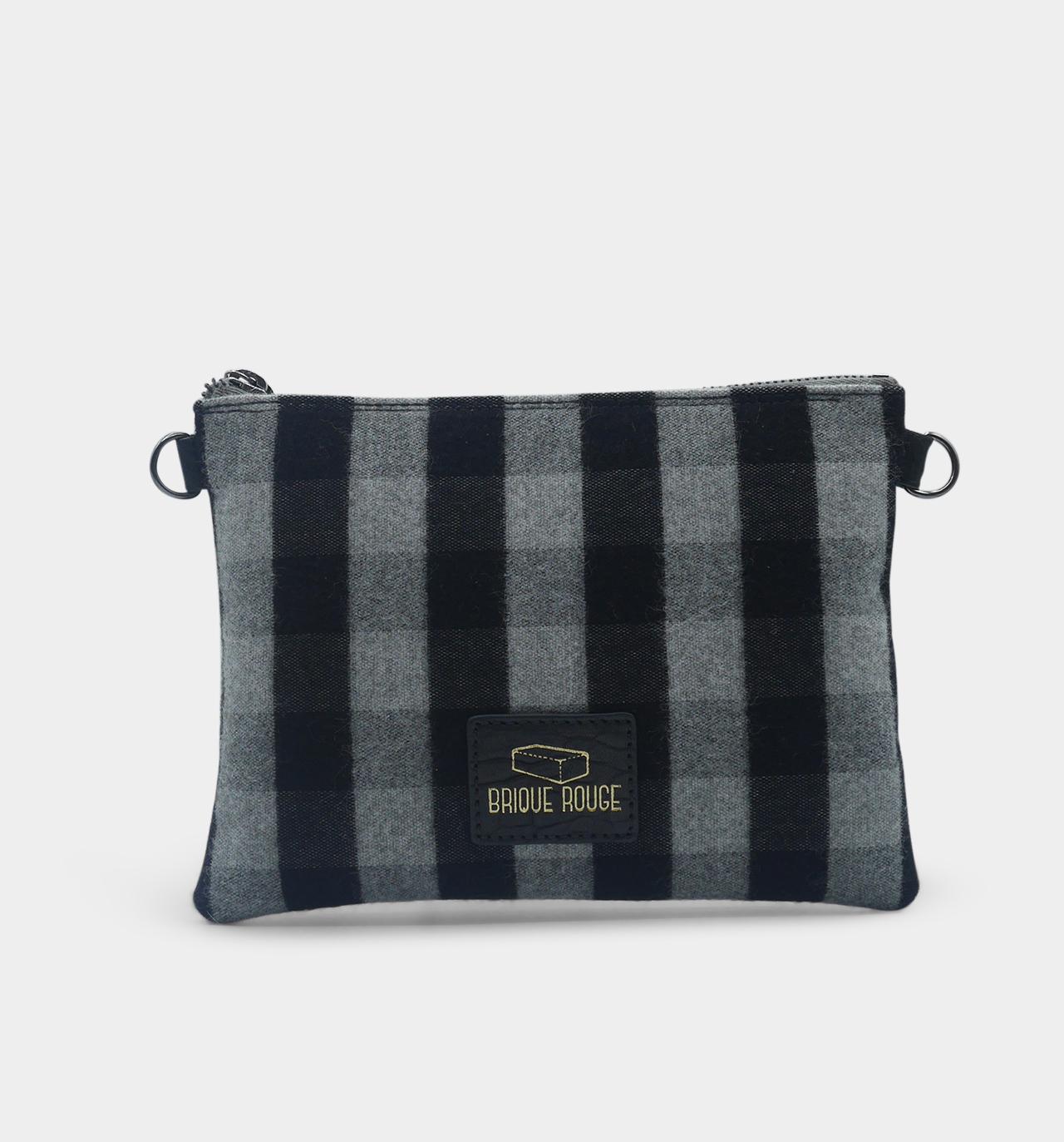 pochette zippée tartan gris