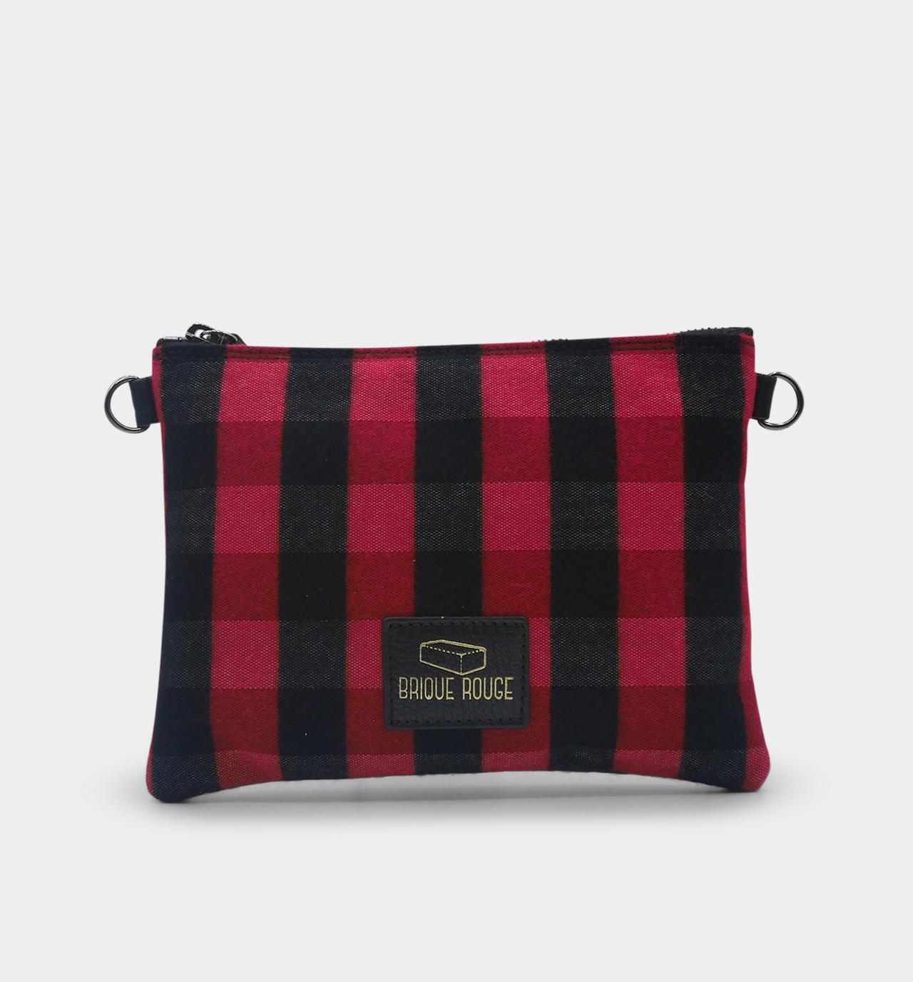 pochette zippée tartan rouge
