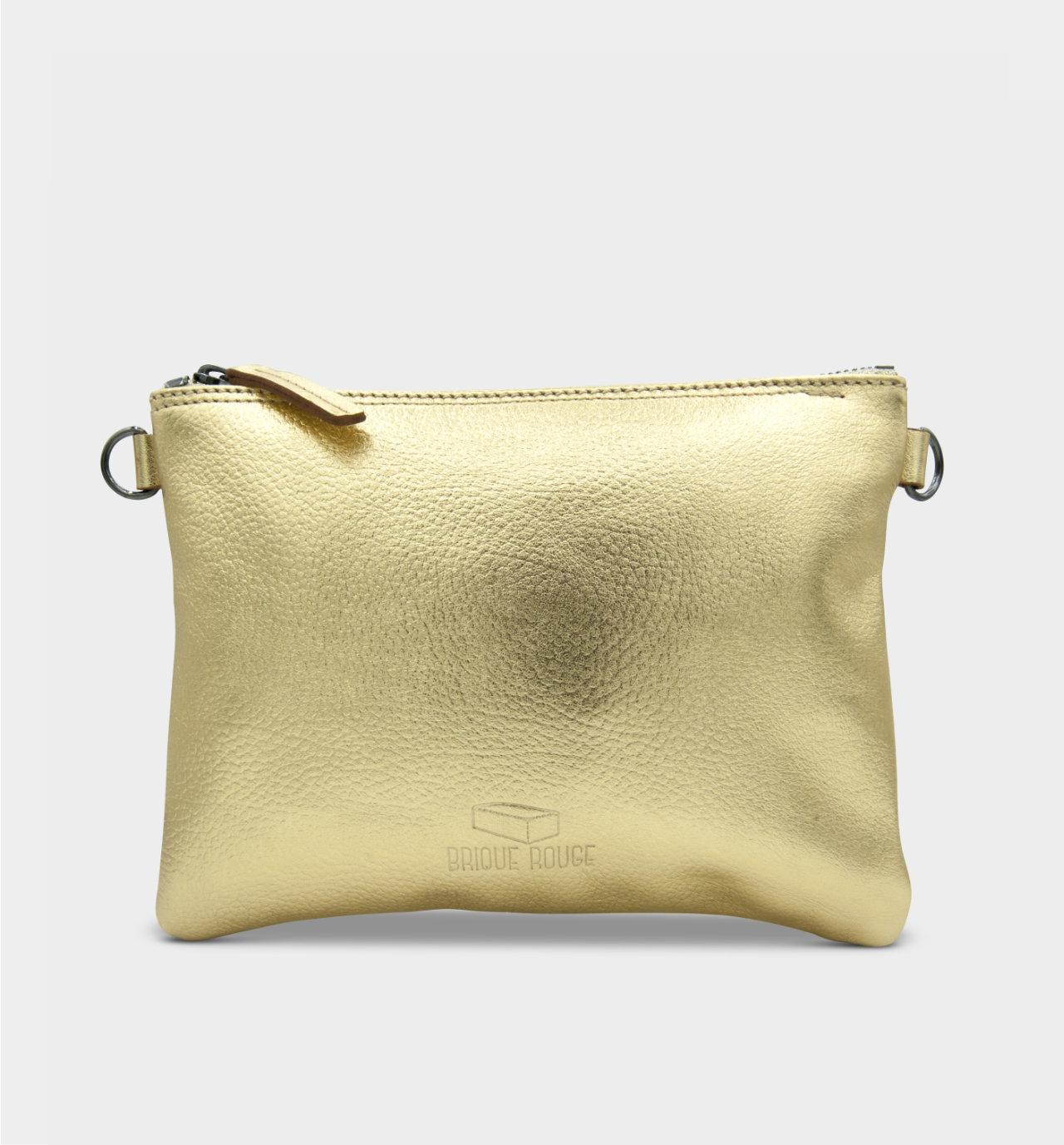 Pochette zippée cuir gold