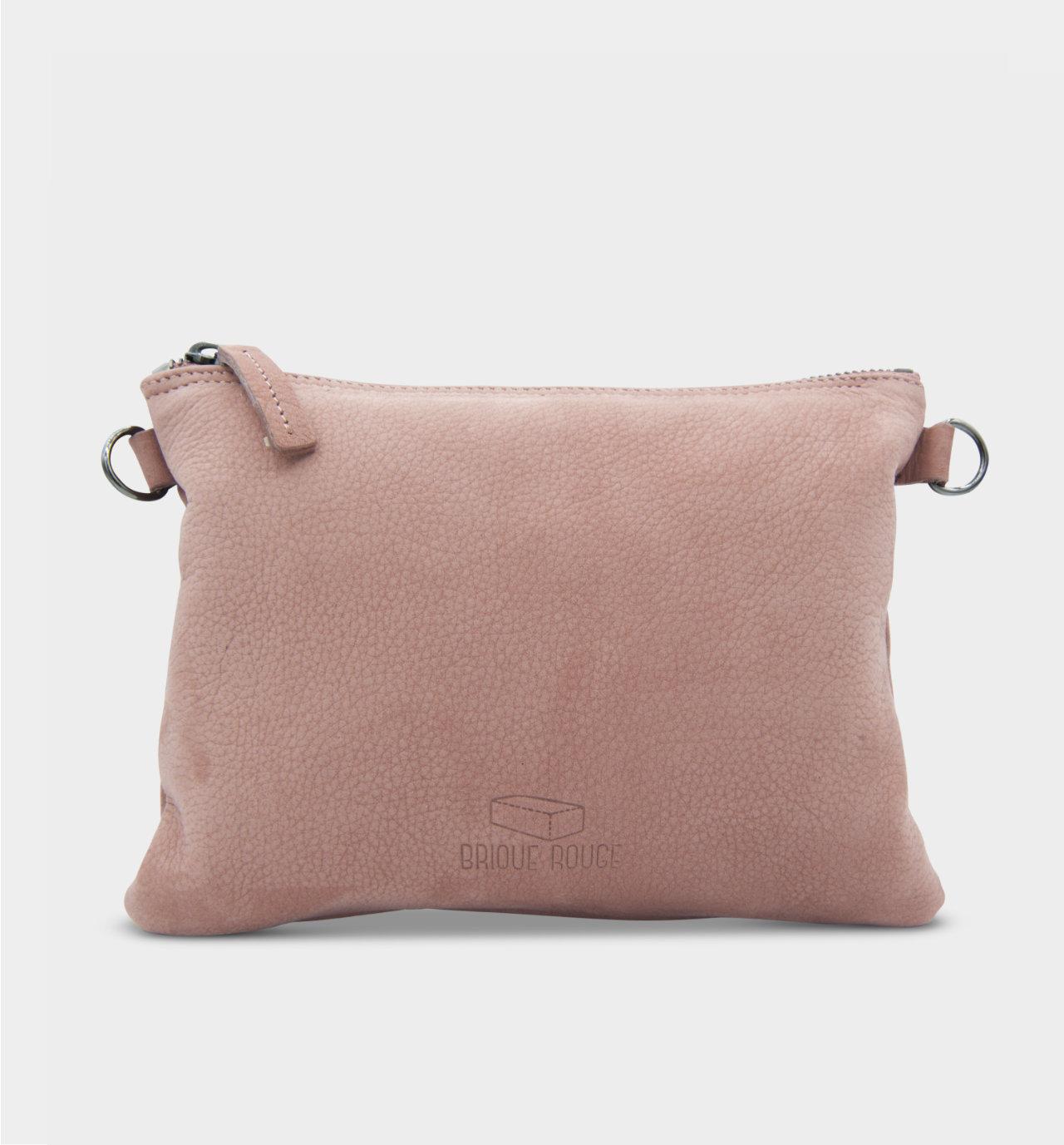 Pochettepochette zippée nubuck rose