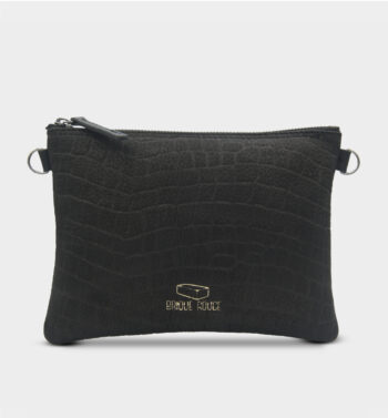 Pochette zippée en nubuck croco noir