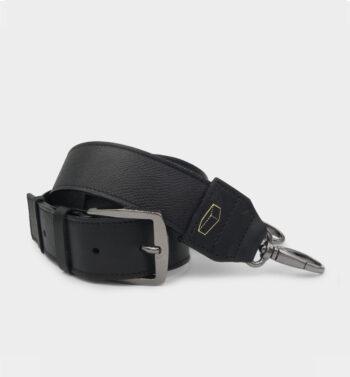 Bandouliere large en cuir texture noir